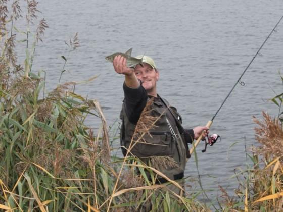 ...fängt den Fisch von Hand